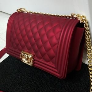 Quilted Deep Red purse shoulder bag silicone jelly